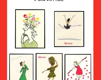 BLOSSOM 5 Card Lady Pack - High quality (MOO) Greeting Cards 4x6