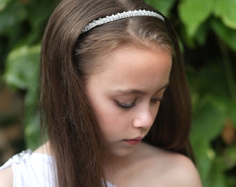 Crystal Tiara Headband - Girl's Crystal Headband, First Communion Headband, Special Occasion Headbands, Flower Girl Headbands