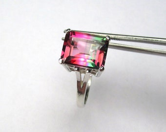 Spectacular Unique Bi-Color Red and Green Topaz in Sterling Silver Ring