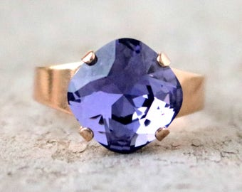 Tanzanite | Swarovski | Crystal Ring | Adjustable | Rose Gold | Square Cushion | Gift For Her | Bridal Jewelry | Wedding Jewelry | Purple