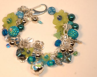 Blue and Green Charm Bracelet , Spring Charm Bracelet , Floral Charm Bracelet , Flower Cluster Bracelet