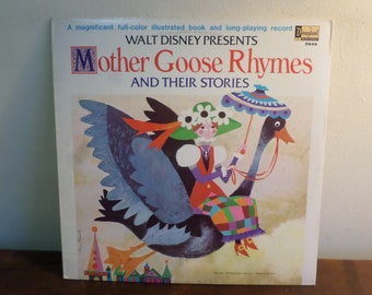 Vintage Disneyland Records LP Walt Disney Mother Goose Rhymes LP With Original Picture Book 15654