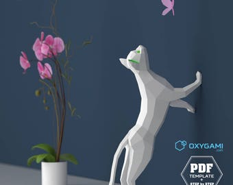 3D Papercraft Cat, 3D PDF Template, Papercraft Animals, Low Poly DIY, DIY Paper 3D Art, Diy Paper Statue, Papercrafting, Perfect on a desk!