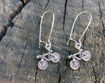 Bicycle earrings, bike earrings, bicycle long earring, long earrings,dangle earrings, sport earrings, kawaii earrings, silver