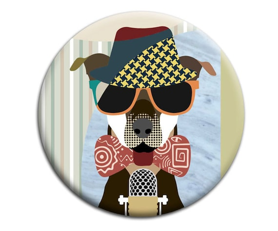 Doberman Dog Magnet,  Modern Dog Abstract Art Colourful Pop Art, 2. 25 inches diameter and 0.25 inches thick