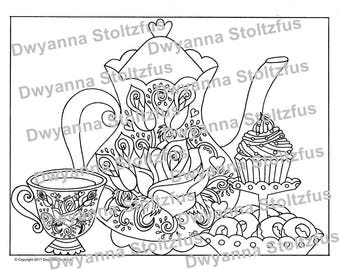 Tea Party Coloring Page JPG
