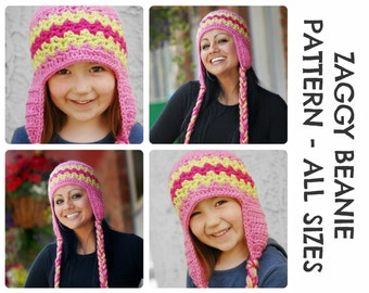 CROCHET HAT PATTERNS - Zaggy Beanie - Adults & Kids Sizes