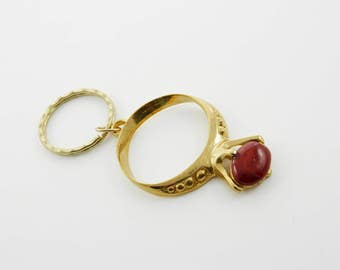 Vintage Red Gemstone Ring Keychain