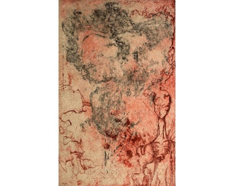 SALE! Abstract  woman and textural design - Intaglio Aquatint Acid Etching Chine-collé chine colle Printmaking orange brown red black art