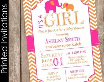 Hot pink and orange baby shower invitation elephant baby shower invitation baby girl baby shower invitation chevron invite(FREE ENVELOPES)