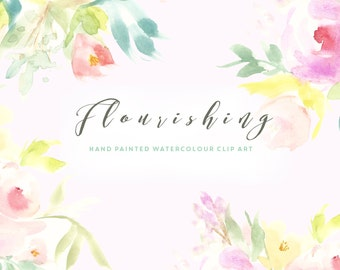 Flower Watercolour Clipart - Flourishing