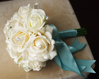 Silk Wedding Bouquet - Natural Touch Ivory Roses Silk Flower Bride Bouquet - Almost Fresh