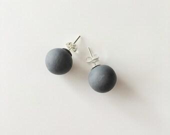 Slate Stud Earrings, Round Earrings, Geometric Earrings, Chunky Earrings, Minimalist Earrings, Polymer Clay, Stud Earrings, Boho Earrings