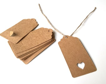 Labels hang tags price tags with heart 8x4cm 25 X Brown