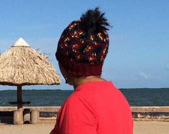 Ponytail Hat, Messy Bun Hat, Crochet Messy Bun Hat, Crochet Hat, Women Messy Bun Hat, Beanie Bun Hat, Loc Messy Bun