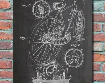 Bicycle patent art bicycle poster vintage bicycle bicycle wall art print bicycle patent art bicycle patent poster bicycle blueprint malvernweather Images