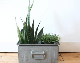 Square metal industrial storage crate - metal crate - industrial crate - vintage metal crate