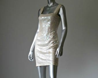 Champagne Dress | New Years Eve Dress | Sequin Mini Dress | Cream Sequin Dress | Cream Party Dress | Studio 54 | Pale Sequin Dress |
