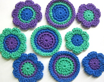 Handmade crocheted cotton appliques flowers and circles set of nine navy blue purple mint green