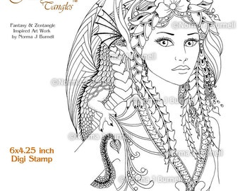 Fira and Drake Fairy Tangles Printable Digi Stamp Zentangle Stamps Digital Stamp Fairy and Dragon Card Making and Coloring by Norma Burnell