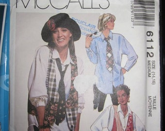 6112 MCCALLS Blouse pattern / bolero / tie for women size 14-16 years
