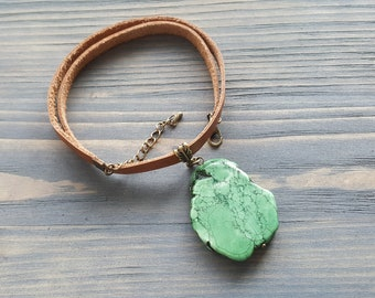 Green turquoise etsy large green turquoise pendant necklace genuine leather choker necklace raw turquoise slice pendant aloadofball Image collections