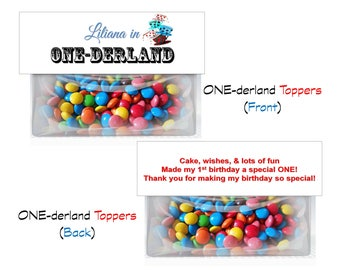 Alice in ONE-derland Birthday theme Goodie Bag Toppers - 4 TOTAL designs!