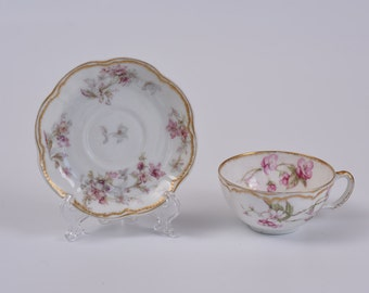 Haviland Limoge Double Gold Teacup and Saucer