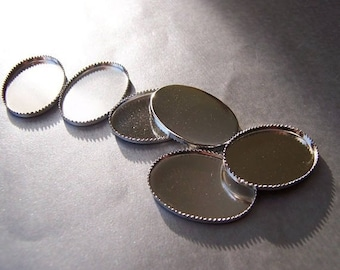 Three (3) - 25X18 Silver-Toned Sawtooth Bezel Cups