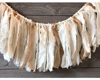 Muslin, lace and burlap garland