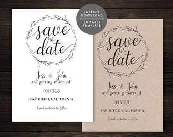 Diy save the date etsy rustic save the date save date templatesave date cardprintable save the junglespirit Images
