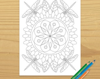 Dragonfly Coloring Page, Flower Coloring Page, Garden Coloring Page, Nature Coloring Page, Bug Coloring Page, Digital Download
