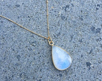 Large moonstone necklace in gold vermeil or sterling silver