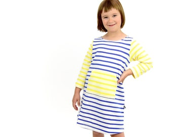 girls dress, summer dress, girls yellow dress, blue white striped jersey dress,girl jersey knit dress,girls dress size 6,100% organic cotton