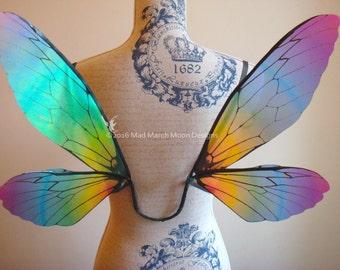 Rainbow Iridescent Fairy Wings, small size wearable fairy wings, poseable fairy costume wings