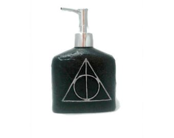 Deathly Hallows Soap Dispenser, Harry Potter soap pump, polymer clay soap pump