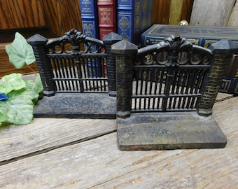 Vintage 1920's Cast Iron Gate Bookends
