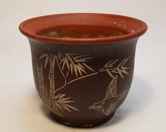 Chinese Yixing Birds in Flight/Bamboo Sgraffito Pottery Planter