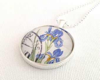 Iris flower necklace, vintage postage stamp Deutsche Bundepost 1980s