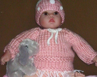 Hand Knitted Infant Hat and Sweater