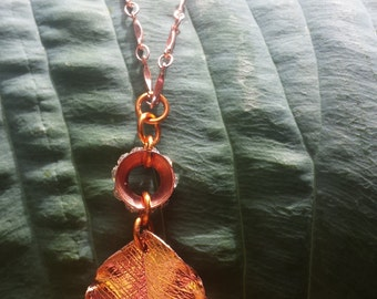 Copper Leaf and Crystals Eternity Ring Pendant Necklace