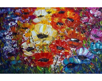 Original Painting SUMMER FLOWERS Colorful Poppies Large Floral Painting Ready to Ship 36x24