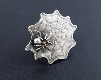 Spiderweb Ring, size 8.5 ring,  spider ring, sterling silver, web ring, spider jewelry, michele grady, halloween jewelry, halloween ring
