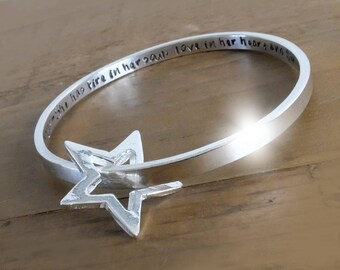 Chunky Personalised Sterling Silver Bangle with Silver Star, Silver Bangle with Floating Star, Bracelet with Star, Bangle with Star Charm