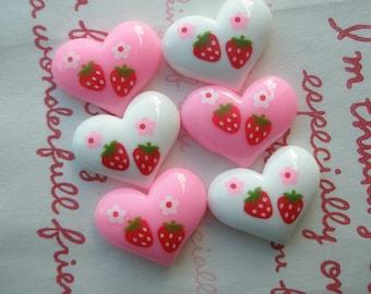SALE Strawberry print heart cabochons 6pcs B