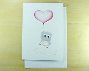 Greetings card, owl, anniversary, shower