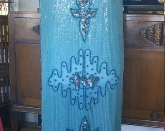 Vintage 1980s does 1920s flapper dress, sequins, turquoise, M