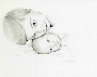 Portrait Drawing Pencil Portrait Custom Personalized Drawing Hand Drawn Portrait Son and Daughter Illustration Portrait Custom Portrait Art