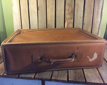 Vintage Leather Top Zip Suitcase