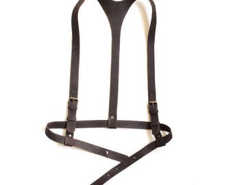 "Hand-made dark brown leather harness ""Timeless classics"", fashion harness women, body harness"